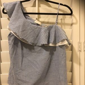 Alythea Blue pin striped one shoulder top. NWT